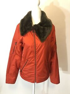 Ws B by Burton Roosevelt Bomber Snowboard Ski Jacket Red Orange Small Faux Fur