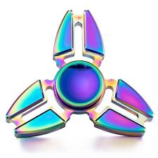New Tri Rainbow Aluminum UFO Fidget Hand Spinner Triangle EDC Finger Toy ADHD*