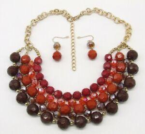 "17.5"" Gold Tone Red Orange Amber Brown 5 Row Beaded Bib Choker & Dangle Earrings"