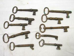 Lot 10 Antique Skeleton Door Keys Early Brass Lock Barrel Steampunk Jewelry D
