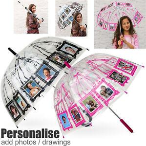 Childrens Adults Umbrella Add Fun Photos Personalise Dome Design Brolly Boy Girl