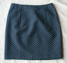 JODHPUR Jupe tissu EPAIS noir bleu pois blancs PREPPY CHIC 40 dot polka skirt 12