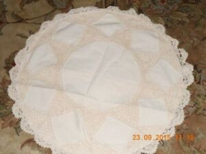 "2 LINEN LACE CUSHION COVER HANDMADE 20"" BEIGE COLORED"