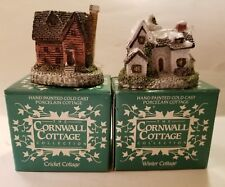 Set Of 2. New In Box Cornwall Cottages. Cricket & Winter Cottage. (O41#9dr)