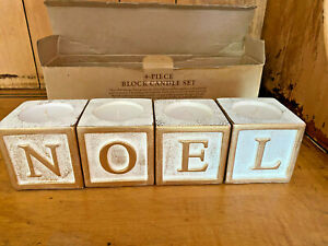 """4 Candle Holder Cubes Engraved """"Noel"""" Gold Christmas French Gift Decor 12"""" $49"""