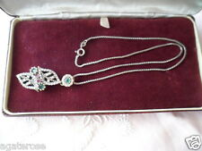 Antique vintage Sterling Silver Emerald and Ruby pendant Sterling Silver chain