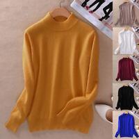 Damen Slim Soft Aus Kaschmirwolle Mit Halbem Rollkragenpullover Knitted Pullover