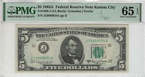 1963 A $5 FEDERAL RESERVE NOTE KANSAS CITY FR.1968-J JA BLOCK PMG GEM UNC 65 EPQ