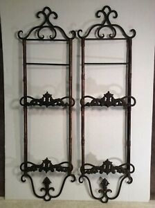 Vertical Two Plate Wall Hanging Rack Hanger Decorative Metal and Wood Lot of 2