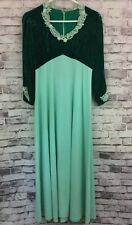 Vintage Green Crushed Velvet Gown Wedding Lace Trim Theater Movie Prop