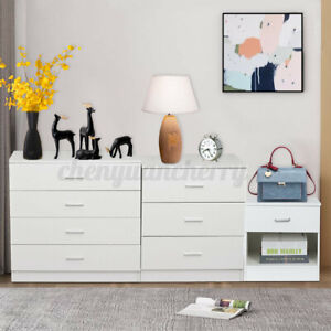 Wooden Top Dresser Chest 1/2/3/4 Drawers Bedroom Storage Organizer Nightstand US