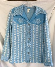 1970's Vintage/Retro Wide Point Collar Mod Disco Cowgirl Shirt Geometric Union