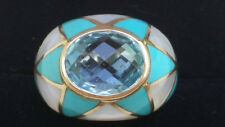 Mother Of Pearl Chryscolla Topaz 14k Yellow Gold Band Ring Estate Jewelry 7.6 gm