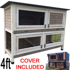 Grey Large Rabbit Hutch Guinea Pig HUTCHES Run 2 Tier Double Decker Roger XL