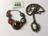 *Vintage Style Cameo/Pendant Necklace With Diamanté Matched With Bracelet
