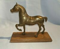 Vintage Brass Horse with Wood Base Sculpture