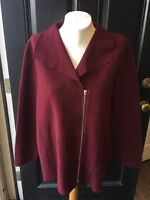 New $159 Chico's Red Maple Boiled Wool Sweater Jacket Size 2 L 12 14 3 XL 16 NWT