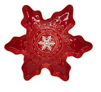 Hallmark Christmas Snowflake Shape Candy Dish Red White Holiday Decoration Gift