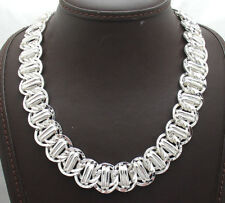 Bold Hammered Status Railroad Link Chain Necklace Real Sterling Silver QVC
