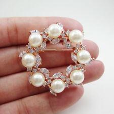 New Arrival Zircon Crystal Elegant Wreath Pearl Bride Brooch Pin Bridesmaid