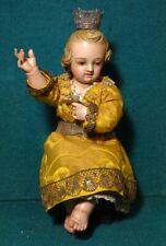 CHILD JESUS Antique 19th Cent. 230mm DRESSED WOOD FIGURE STATUE