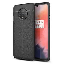 NALIA Leder-Look Handy Hülle für OnePlus 7T, Ultra-Slim Silikon Case Cover Dünn