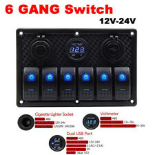 12V/24V Waterproof RV Boat Marine 6 Gang LED Rocker Switch Panel Circuit Breaker