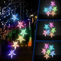 Color Changing Solar Power LED Star Wind Chimes Light Garden Hanging Decor Lamp