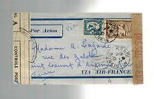 1941 Hanoi Viet Nam Police Dual Censored Airmail Cover to France via Hong Kong