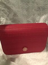 New TORY BURCH Robinson Perforate Cross-Body Bag Clutch Pink Red $365