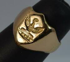 Stunning Open Winged Bird Crested 18ct Gold Intaglio Seal Signet Ring d0727