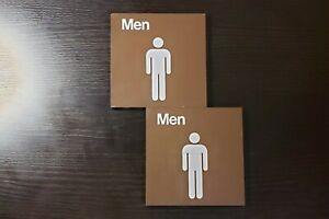 2x Two Men Brown Bathroom Signs Tiles Mens Men's Mans BRAND NEW