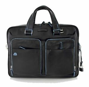 Man briefcase Piquadro Blue Square CA2849B2 in black leather business laptop bag