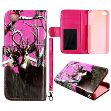 Pink deer Wallet Flip magnet for Apple iphone 5S 5  S Leather  RT case cover