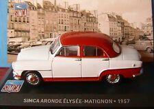 SIMCA ARONDE ELYSEE MATIGNON 1957 IXO ALTAYA 1/43 WHITE AND RED ROOF