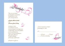 100 Personalized Custom Pink Butterfly Bridal Wedding Invitations Set