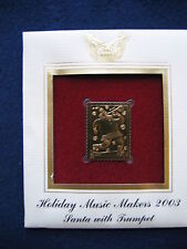 2003 Holiday Music Makers Santa With Trumpet replica Gold Golden Cover Stamp