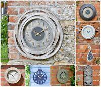 Garden Wall Clock Outdoor Indoor Thermometer Novelty Home Decor Roman Numerals