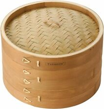 """Double Tier Bamboo Steamer 10"""""""