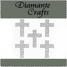5 Clear Diamante Crosses Self Adhesive Rhinestone Craft Embellishment Gems