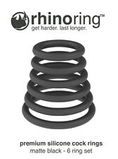 RhinoRing Rubber Silicone Erection Performance Enhancing Penis Rings - 6 Pack