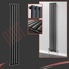 "280mm(w) x 1800mm(h) ""Brecon"" Designer Vertical Black Radiator 2854BTU Oval Tube"