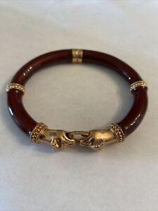 Signed MILOR Italy Rose Gold BRONZE & Enamel Double PANTHER Clamper BRACELET