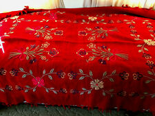 Red Wool Floral Hand Woven Hand Stitched Blanket About 100 Years Old From Europe