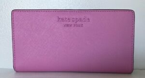 New Kate Spade New York Cameron Large Slim Bifold Leather wallet Bright Peony
