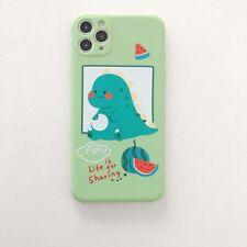 Dibujos Animados Sandía Verde Dinosaurio Lindo Teléfono Estuche Cubierta para iPhone 11Pro 8+ XS XR