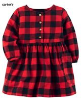 NWT Carter's Girls' Red & Black Plaid Dress Set(Size 3 Months) NEW