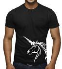 Men's Unicorn Head Black T Shirt Fantasy Magical Gay Pony Legend Magic Tee V236