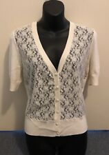 Brand New Jeanswest Sz M Cream Lace Front Cardigan Short Sleeves