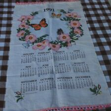 VINTAGE LINEN CALENDAR 1991 TEA TOWEL - BUTTERFLIES  WITH FLOWERS -